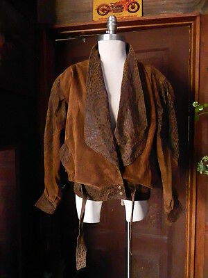 Vintage LAURICE Genuine Brown Suede Leather 90's Fashion Heavy Jacket Coat Sz M