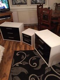 2 Chest of Drawers & 1 Bedside Drawer