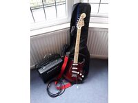 Standard Stratocaster Electric Guitar (Red/Black) + Accessories