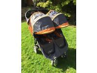 Baby jogger city mini double twin pushchair grey orange