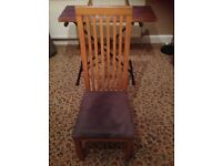 6 kitchen table chairs. Wooden backs with grey suede cushioned seats