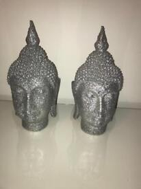 Pair of Buddha silver glitter head
