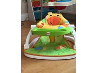 Fisher Price Giraffe Sit-Me-Up Feeding Booster Seat with tray and toys
