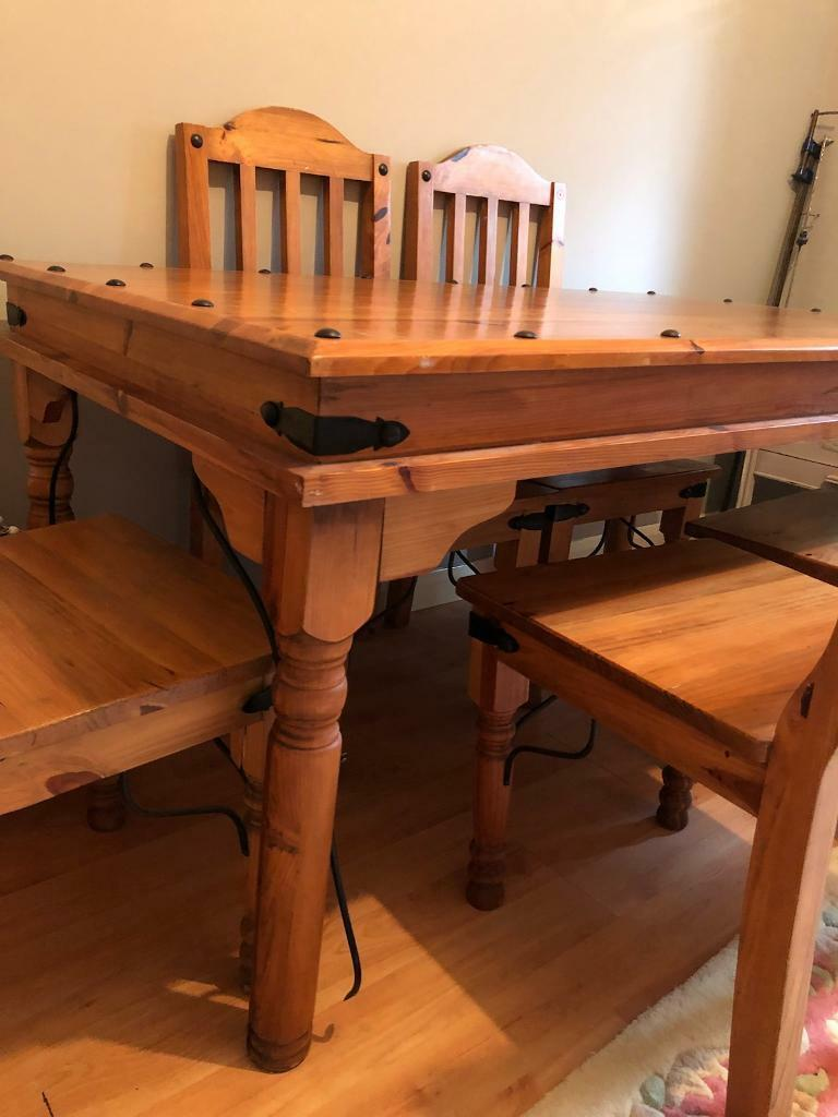 Solid pine table and 6 chairs