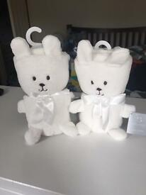 Two White Teddy Blankets
