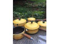 Le Crueset yellow pan set 1980s