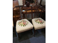 Adorable Decorative Pair of Victorian Mahogany Parlour/Bedroom/Hall Chairs
