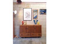 Vintage Ercol Solid Elm Sideboard Mid Century