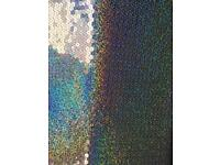Silver or Green Holographic Sequin 2 way stretch fabric £10 per Metre
