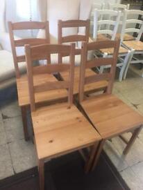 4 ikea pine chairs