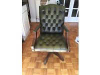 Vintage Green Chesterfield Leather Antique Arm Chair