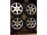"""16"""" OZ Racing 4x100 Alloys Wheels & Tyres VW Golf Mk1 Mk2 Mk3 Vauxhall Astra Corsa Vectra Nova Tigra"""