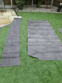 Offcuts black tiled vinyl/lino