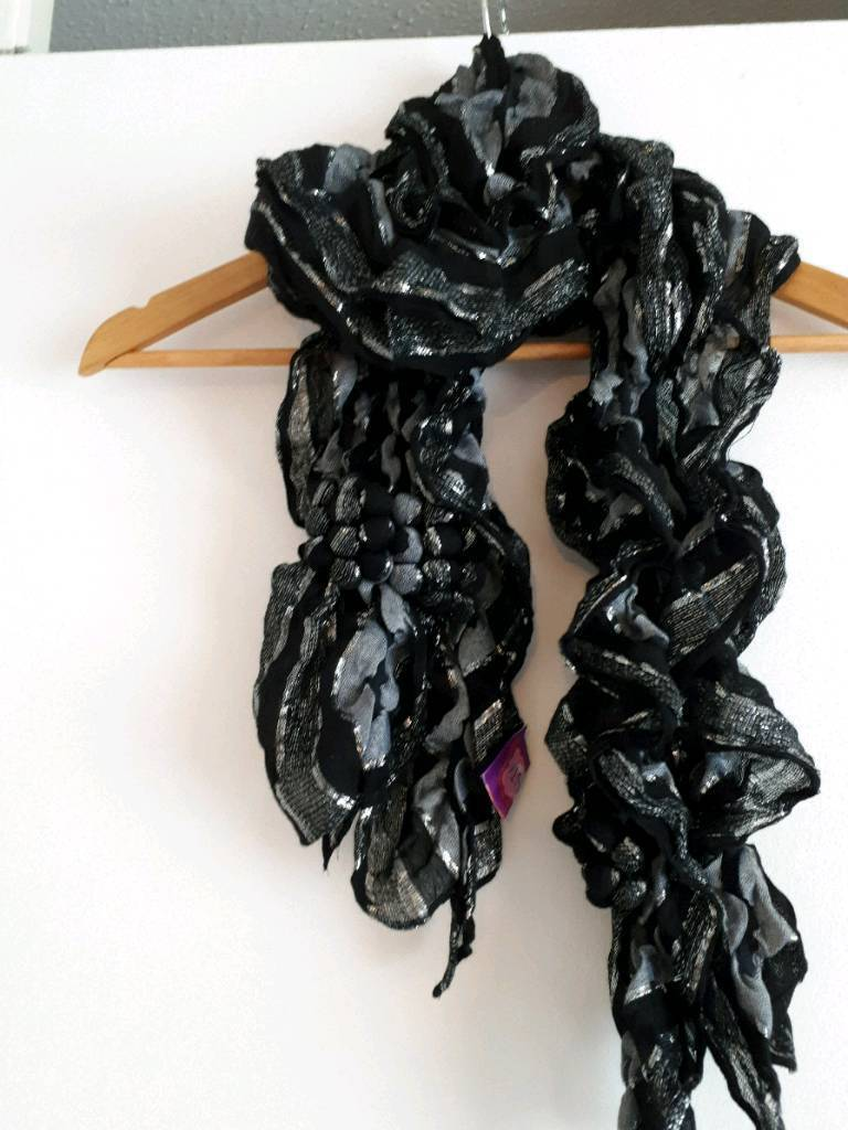 Silver and black scarf