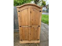 Solid pine corona mexican wardrobe with shelve and hanging rail inside