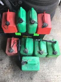 Fuel cans, safety helmets and muck board