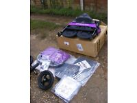 Brand New Purple Punch Out n About Nipper 360 V4 Double Kids Buggy with Extras