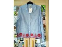 FALMER Shirt Top NEW WITH TAGS Denim Style EMBROIDERD Red, White and Blue STRIPE