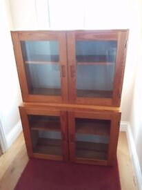Two Pine Display Cabinets - With Glass Door - Ideal For Toys - Collection Only