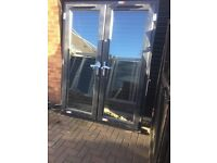 Upvc gray French doors brand new 70 x81 inches