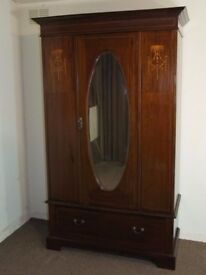 ANTIQUE EDWARDIAN INLAID MAHOGANY MIRROR DOOR WARDROBE FREE DELIVERY EDINBURGH GLASGOW TAYSIDE FIFE