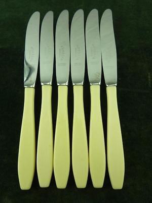 6 Vintage Regalia Dessert Side Knives Ivory coloured resin handle