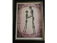 The lovers goth skeleton romantic art print with frame