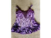 Velvet and lace cami top