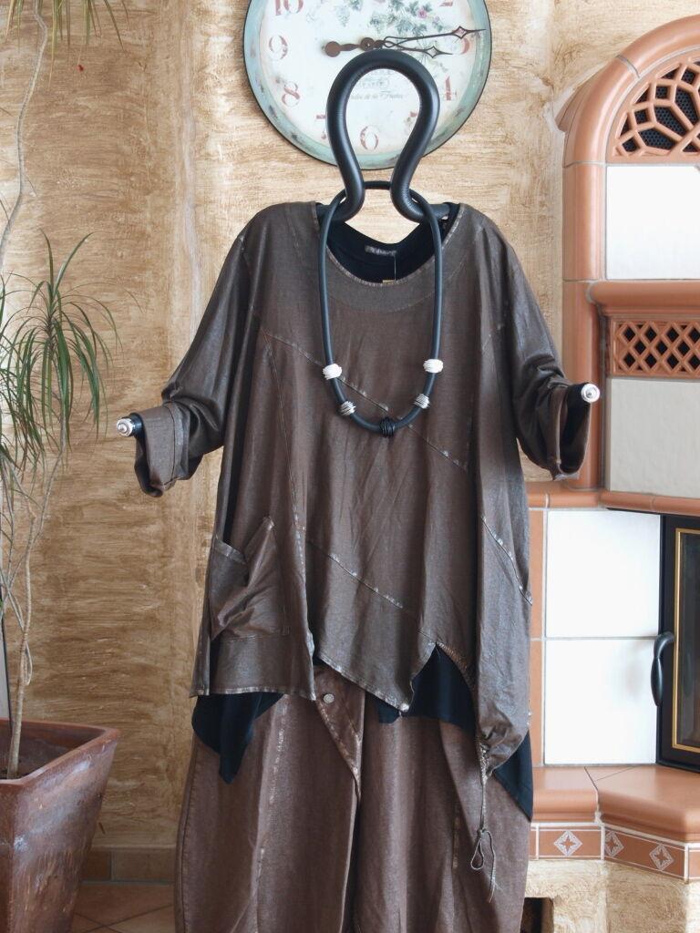 LABASS Winter 2016 Lagenlook Vintage Zipfel Shirt DONATA braun gold L 44 46