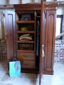 Victorian single / double mirror door linen press wardrobe - ideal for narrow stairs