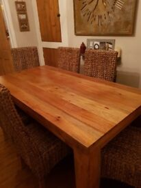 6ft solid mango dining table and 6 chairs