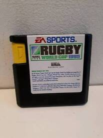 Rugby world cup 1995 Sega Mega Drive game cartridge. Good condition.