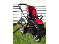 Oyster max buggy stroller with carrycot, tandem fittings & ride-on board. Red and black by BabyStyle