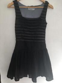 Grey black textured striped skater dress. Alternative