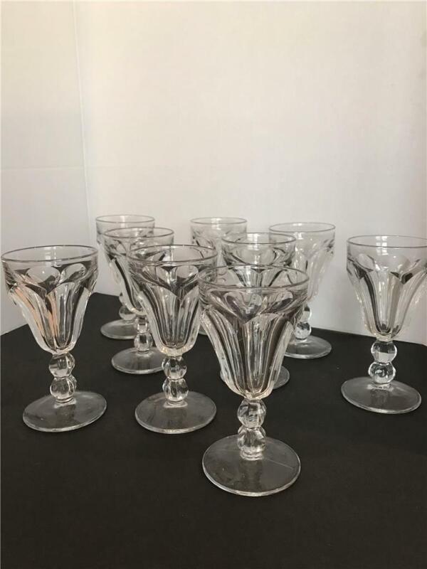 "Heisey~Vintage ~ Colonial Clear Stem~4 oz Claret Wine glass~set of 9~ 5.5""x2 7/8"