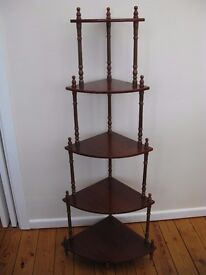 Vintage 5 tier corner mahogany coloured what not (shelving/display unit)