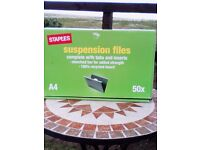 New and unused box of 50 Staples A4 suspension files with tabs and inserts