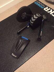 Wahoo kickr, wahoo mat, heart rate sensor, lap top stand, wheel riser