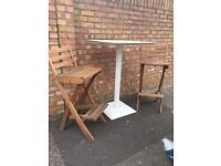 Garden 2 metal table & 2 high wooden chairs foldaway
