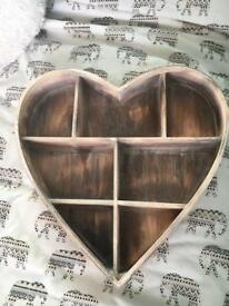 wooden heart shaped storage