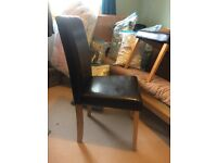 2 Faux leather chairs