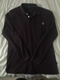 Paul Smith Maroon Long Sleeve Polo