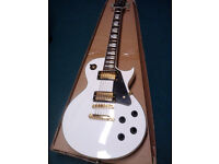 """White """"vintage"""" brand Les Paul style V100 electric guitar -as new -Offers considered!"""