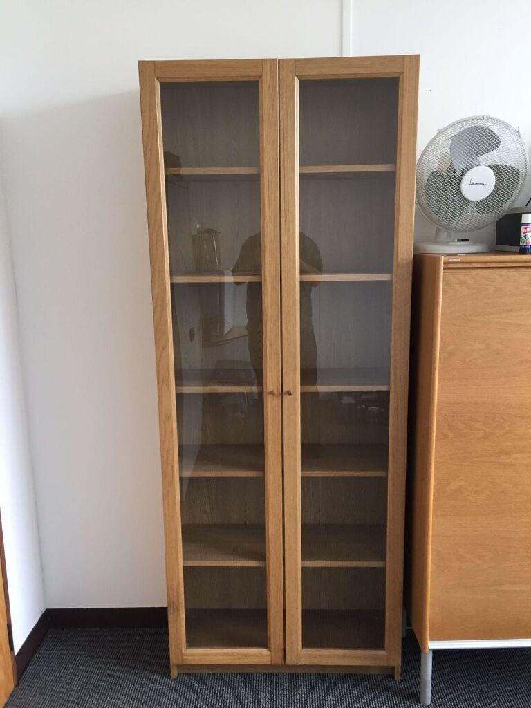 ikea oak billy bookcase with glass doors in linwood. Black Bedroom Furniture Sets. Home Design Ideas