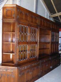 Impressive Old Charm Oak Wall Units Bookcase Bureau Display Cabinets Tudor Brown