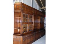 Impressive Old Charm Oak Wall Units Bookcase Bureau Display Cabinets Tudor Brown