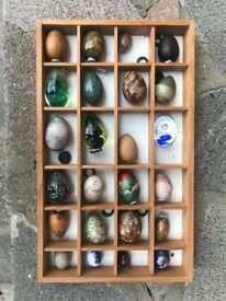 24 Vintage collectible Eggs and 11 owls, in display case. In Excellent condition