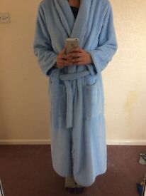 Unisex Light Blue Luxury Thick Fluffy Dressing Gown - Size M - As New