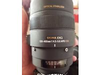 Sigma lens 120-400mm nikon fit only selling as getting upgrade 400 ovn.o