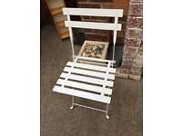 Brand new 2 White metal folding Bistro chair & table